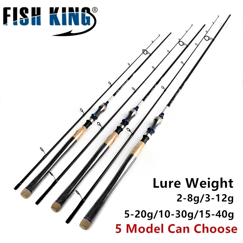 FISH KING 5 Colors Lure Weight 2-40g Ultra Light Spinning Fishing Rod 2.7m 2.4m 2 Section Carbon Fiber Fishing Spinning Rod Pole 2016 2 1 2 7m 2 section fishing rod spinning lures rod 15 45g lure weight 15 25lb line weight mh 95% carbon fiber pole for bass