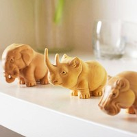 Creative Handmade Wood Carving Rhinoceros Elephant Hippo Wooden Animal Doll Crafts Gifts Home Decoration Ornaments