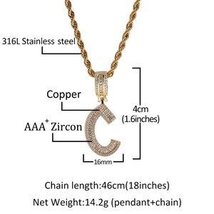 Image 5 - UWIN collier pendentif lettres Baguette anglaise avec 4mm, zircone cubique, chaînes de Tennis, bijoux hip hop à la mode pour hommes et femmes