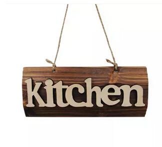 Wooden sign handing board shop store wood kitchen sign plate-in ...