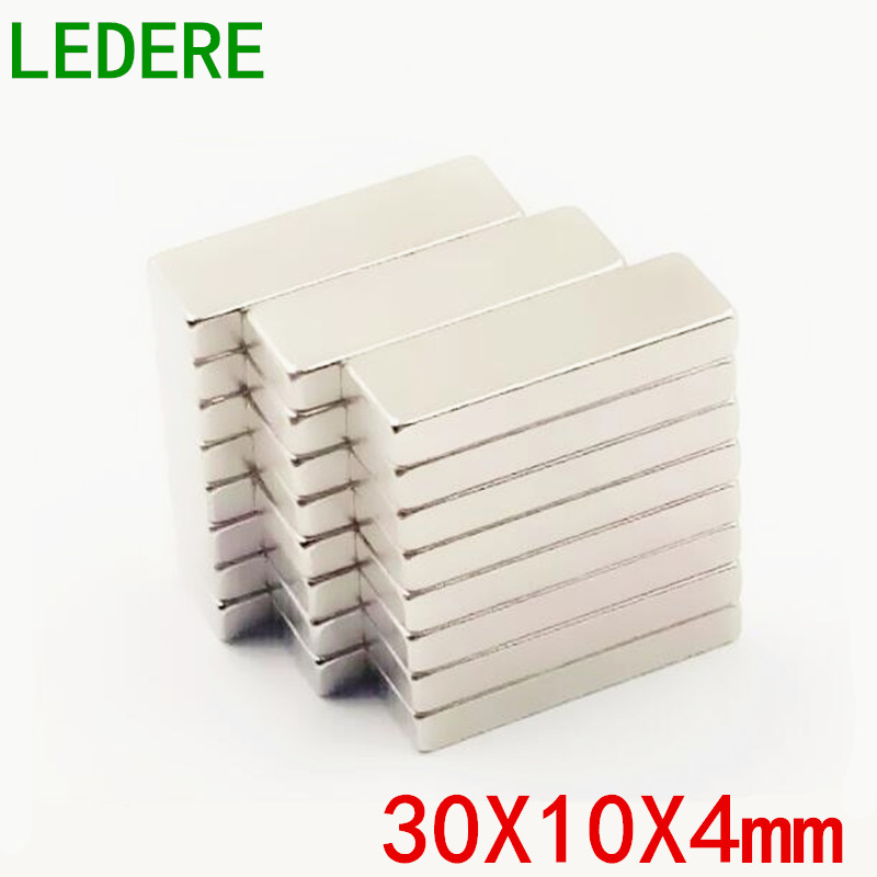 LEDERE 10/50PCS 30*10*4 N50 Neodymium Magnet 30 x 10 x 4 mm Bulk Super Strong Strip Block Bar Magnets Rare Earth 30X10X4 контроллер fibre channel dell nic qlogic 2662 dual port 406 bbbh 406 bbbh