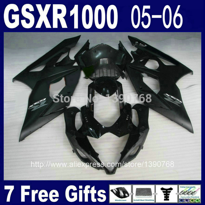 Injection mold ABS fairing kit for SUZUKI GSXR 1000 05 06 K5 K6 bodykits GSXR1000 2005 2006 all black fairings set DG78 injection molding custom for 2005 suzuki gsxr 1000 fairings k5 2006 gsxr 1000 fairing 05 06 glossy black flat gray dw16