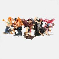 7cm 5pcs Set Japan Anime One Piece Luffy Ace Chopper Nami Shanks PVC Action Figure Collection
