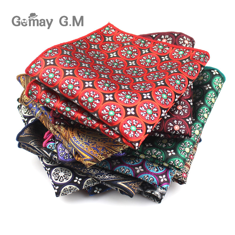 Men Handkerchief Polyester Woven Plaid Floral Pattern Hanky Business Casual Pocket Square For Men Chest Towel Wedding Hankies