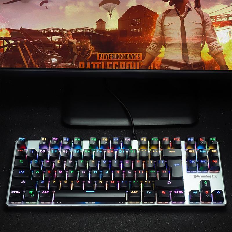 Backlight Mechanical Keyboard 87 Key PUBG LOL MX Click Tactile Wired Keyboard Gaming Keyboard Business Office Metal Keyboard keyboard scribes