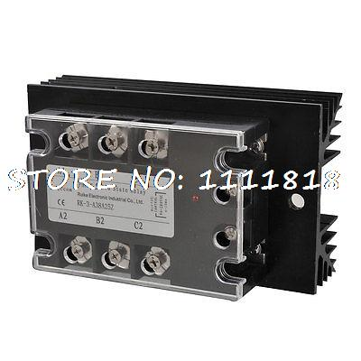 AC-AC 25A AC 90-280V/ AC 380V 3 Phase SSR Solid State Relay w Heat Sink dc ac 25a 5 32vdc 380vac 3 phase ssr solid state relay w heat sink