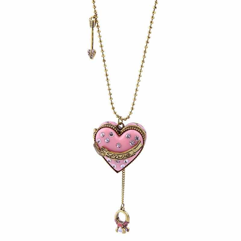 Sweet New Fashion Elegant Jewelry Pink Opened Heart Necklace Pendant Antique Gold Color Vintage Necklace Gift