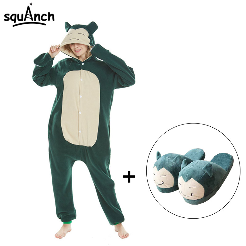Snorlax Kigurumi Slippers Cartoon Suit Pokemon Onesies Adult Men Women Couple Pajama Cute Funny Hooded Polar Fleece Overalls