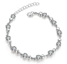 New Hot Sell Silver Plated Austrian Crystal Brand jewelry Multi Chain Rhinestone Bracelet Women Wedding Jewellry