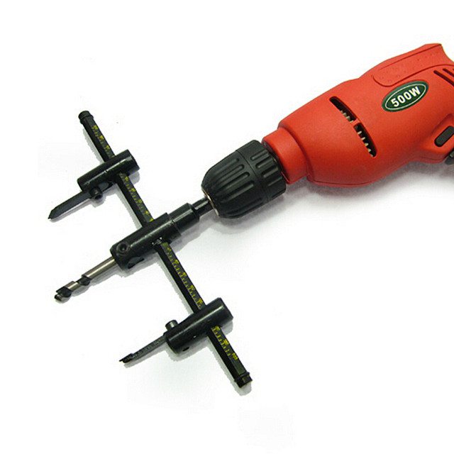2016 New Tool Adjule Wood Drywall Circle Hole Drill Cutter Bit Saw Use 30mm To 200mm