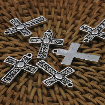 New 50PCS Accessories Jewelry Making Design Copper Metal Lucky Cross Kaddish DIY Loose Finding Pendant Necklace Women 22x18mm image