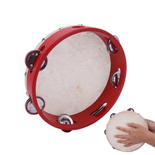 Hand Held Tambourine Children Musical Educational Tamborine With Head Drum Round Percussion Drumhead kid Gift for KTV Party(China)