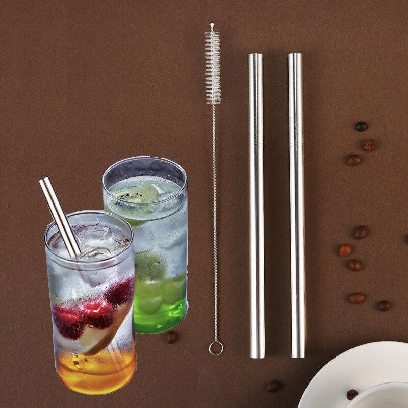 Conjunto De 3 Piezas De Acero Inoxidable Pajitas Metal Reutilizable Recto Straws + 1 Pc Cepillo Limpiador Para Barra De Jugo Accesorios De Fiesta