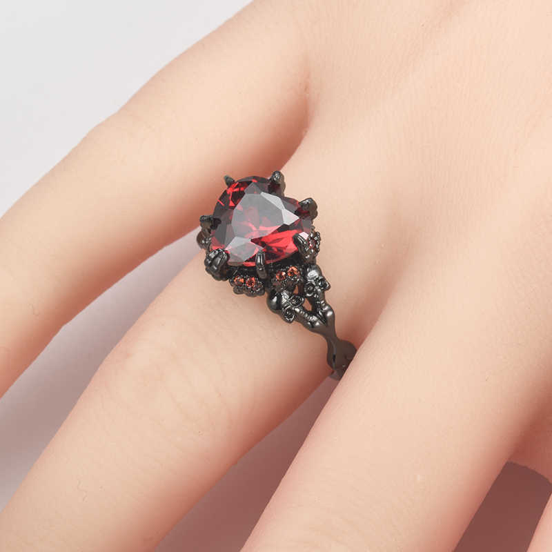 Vintage Heart สีแดง Zircon หินกะโหลกศีรษะแหวนแฟชั่นเครื่องประดับสีดำผู้หญิงผู้ชาย Punk CZ โครงกระดูกสำหรับ Party Dropshipping