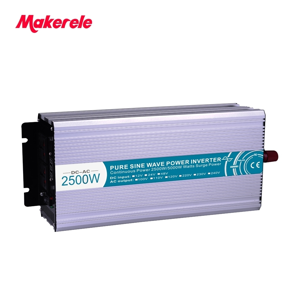2500W Pure Sine Wave Solar Power Inverter DC 12V 24V 48V To AC 110V 220V Digital Display new 400w 800w pure sine wave solar power inverter dc 12v 24v to ac 110v 220v car power inverter led display drop shipping