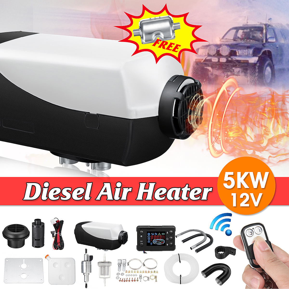 все цены на 5KW 12V Car Heater Air Diesels Heater Parking Heater With Remote Riscaldatore LCD Monitor Silencer 10L Tank For Trucks Boats Bus онлайн