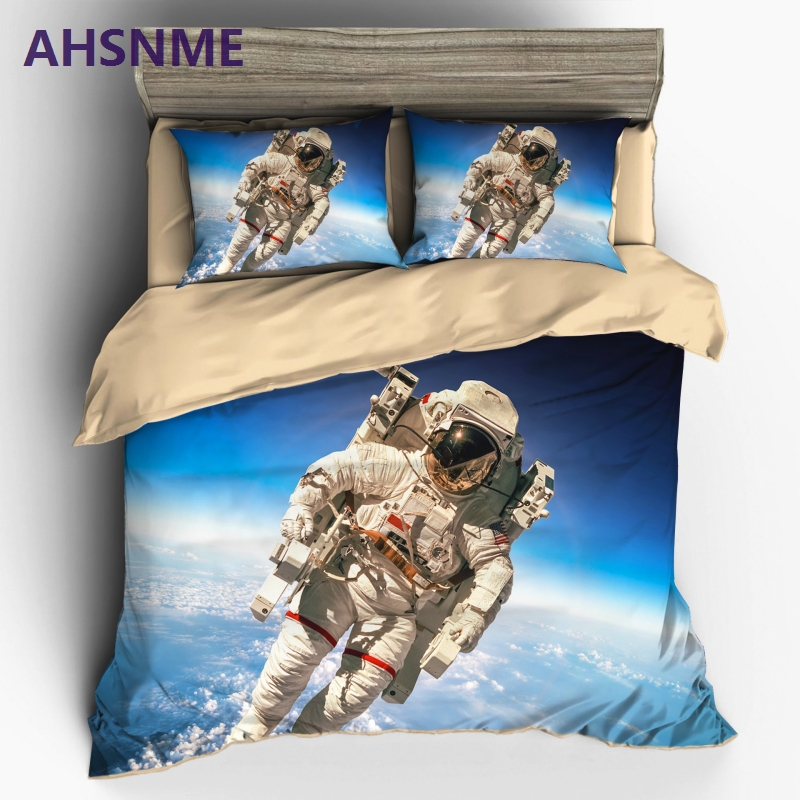 AHSNME Home Textile NASA Space station space walk tyle Sanding 3pcs Bedding Set Duvet Cover Beddingset Sheet Pillowcase Bed Set