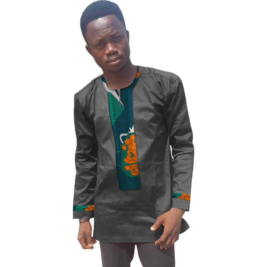 Personal Tailor African Men Dashiki Clothes T Shirt Long Sleeve Black Cotton Fashion Patchwork Africa Clothing