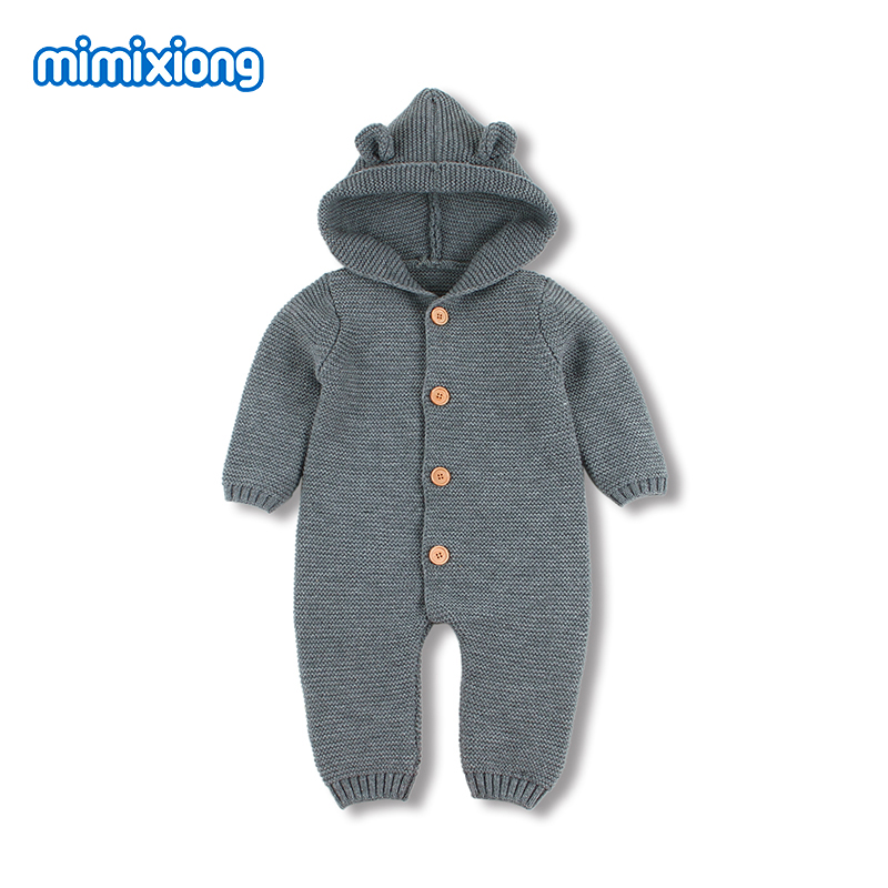 Baby   Romper   3D Cartoon Bear Knitted New Born Bebes Funny Jumpsuits Onesie Fashion Hooded Long Sleeve Toddler Children's Overalls
