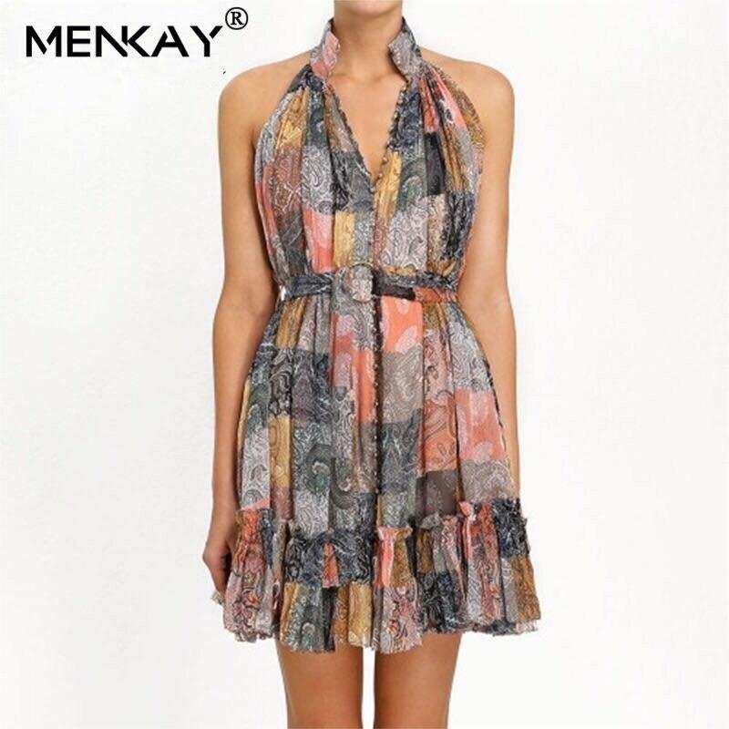 [MENKAY] Vintage imprimer hors épaule Mini robe femmes col en V taille licou Hit couleur robes de plage femme été 2019 mode nouveau