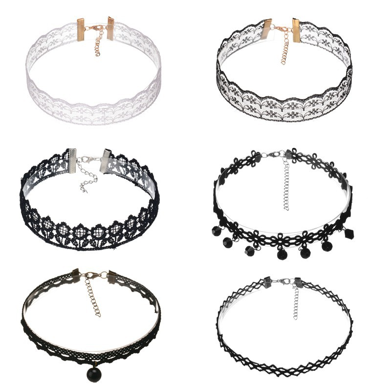 2017 Bohemia Hollow Lace Rope Short Chokers Necklace Jewelry White Black 6 Pcs/Set Necklaces For Women Jewelry Gifts Wholesale