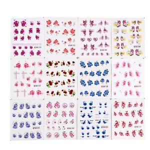 Image 5 - 55pcs New Latest Nail Art Glitter Tips Flower Designs with Gold Powder  Nail Art Sticker Decals Watermark DIY Manicure TRBJC55