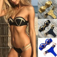 & 35 Bandeau Bikini Hollow Out Sexy String Badpak Push Up Bandage Badmode Badpak Vrouwen Biquini Thong Zwarte Bikini set(China)