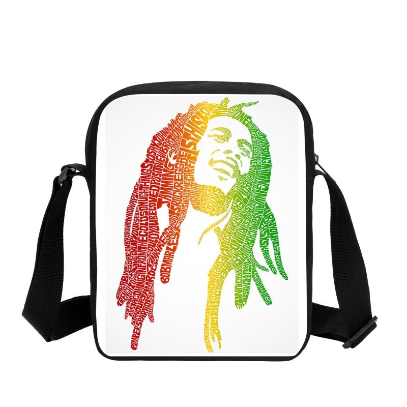 2019 Music Star Reggae Bob Marley Таңба Басылған Messenger сөмкелері Casual Ерлер Саяхат Сөмкелері Балалар Crossbody Bags Shoulder Bag