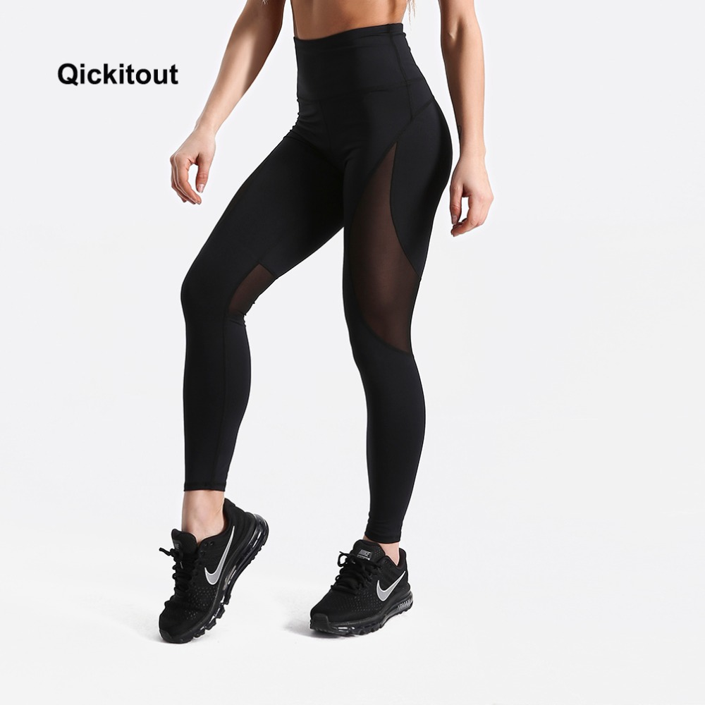 Qickitout High Waist   leggings   Fashion Solid Color Printed Mesh   leggings   Fitness Bodybuilding Clothes Body Solid Black Pants