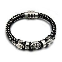 HIP Punk Gothic Titanium Stainless Steel Double Elephant Skull Black Braid Woven Leather Charm Bracelets For