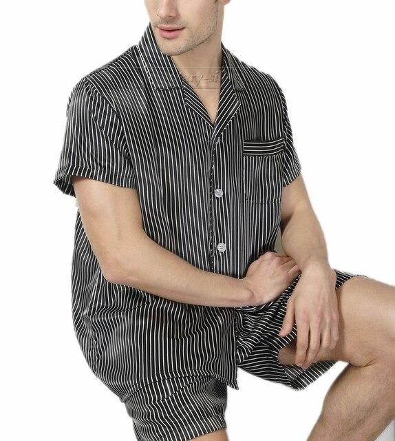 Мужские шелковый атлас пижамы пижамы пижамы установить комплект пижамы Loungewear s,ML Xl, 2xl, 3XL короткими рукавами _ большие подарки