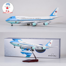цена на 47cm 1/150 Diecast Airplane Model Boeing 747 Air Force One Aircraft Model With Light Base Wheels Resin Alloy Airplane Collection