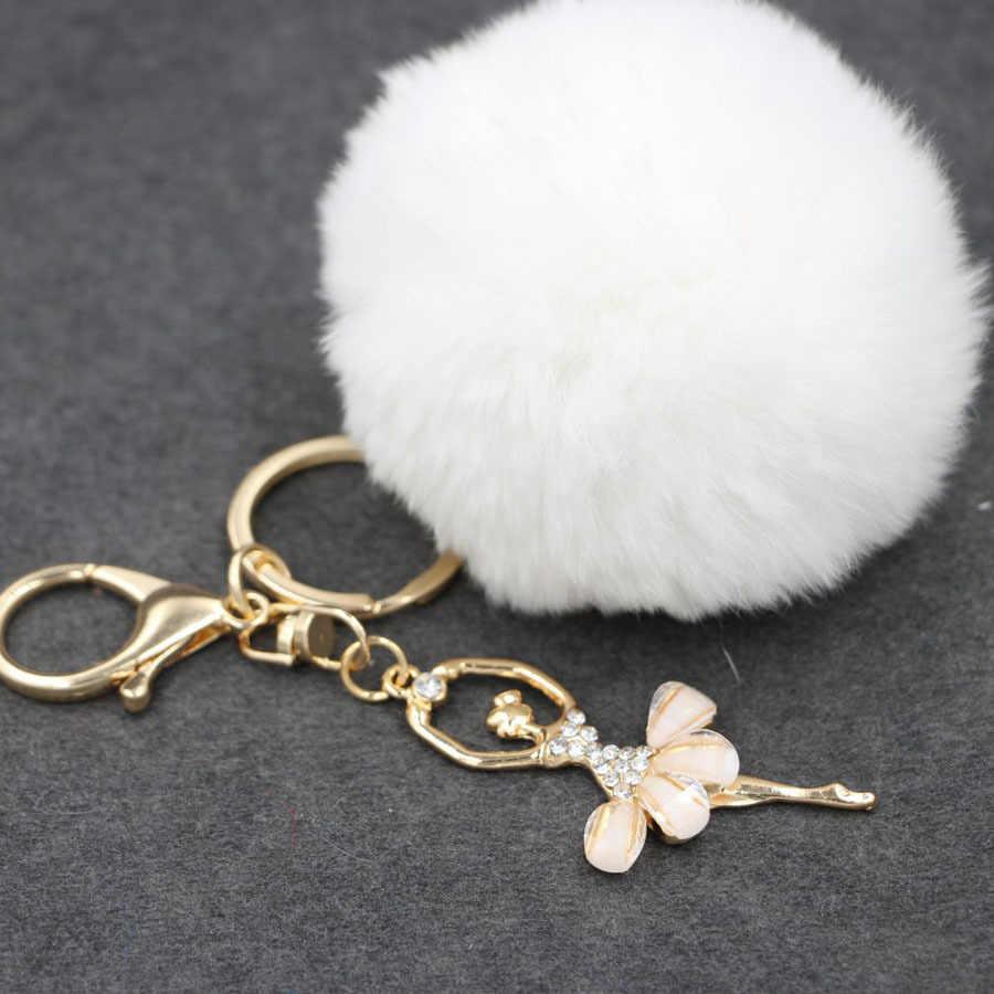 Moda Ballet Girl Pingente Chaveiros Mulheres Rabbit Fur Pom Pom Bola Charme 13 Cores Car Chaveiro Bolsa Chave Anéis