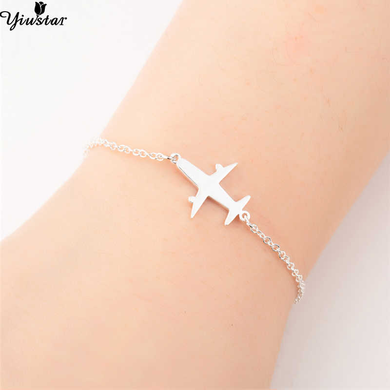 Yiustar Stainless Steel Plane Bracelet in Charm Bracelets Girls Cute Aircraft Airplane Chain Adjustable Outdoor Travel Jewelry