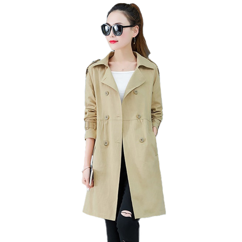 Fashion Spring   Trench   Coat Women 2019 Double-breasted Long Windbreaker Female Plus size   Trench   Khaki Red Black Casual Tops A2861