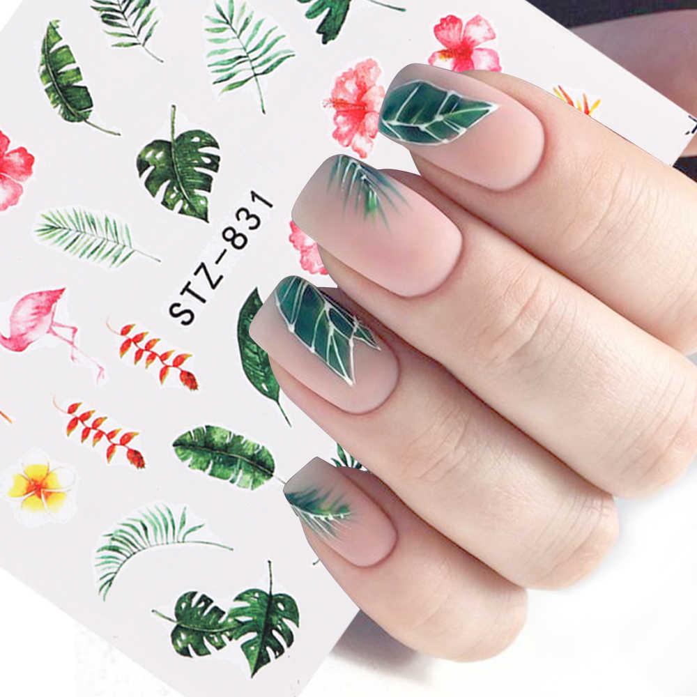 1 pçs água prego decalque e adesivo flor folha árvore verde simples verão slider para manicure arte do prego watermark dicas CHSTZ824-844
