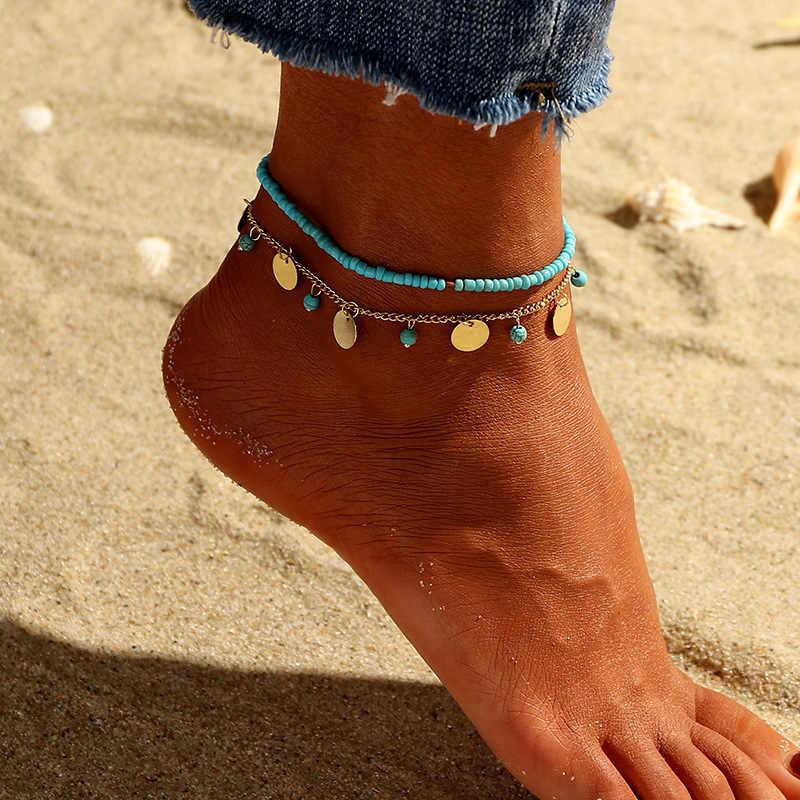 Moda zroszony obrączki dla kobiet podwójna warstwa okrągłe monety wisiorek Boho Foot bransoletki kostki łańcuszek na nogę złoty łańcuszek na kostkę biżuteria letnia
