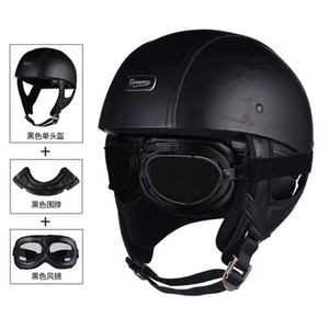 Image 1 - 1 adet 57 62cm ABS plastik motosiklet Helm motokros Capacete yarım kask Retro mat parlak siyah