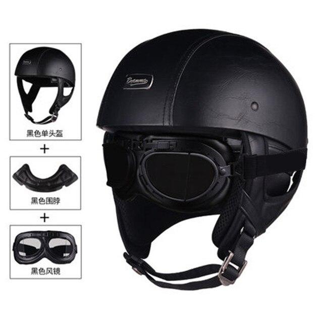 1 adet 57 62cm ABS plastik motosiklet Helm motokros Capacete yarım kask Retro mat parlak siyah