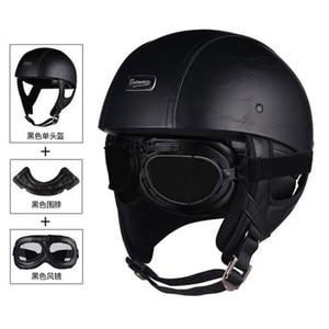 Image 1 - Halbe Gesicht Vintage Motorrad Helm Retro Deutsch Kask,Cafe Racer, Roller, Cruiser,Chopper, matte schwarz, EPS futter, DOT genehmigt