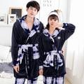 Casal Roupão Manter Quente Robe + Calça Azul Camisola Robe Mulheres & Homens Leisurewear Flanela Grossas de Inverno Senhoras Pijama Definido