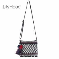 LilyHood Flap Small Shoulder Bag Women Cute Summer Pom Pom Fringe Black  Tribal Gypsy Hippie Bohemian 5f74e944e4e0