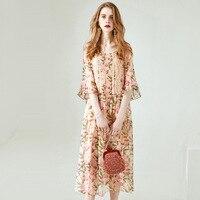 Платье рубашка из шелка с цветочным рисунком, длинные, большие размеры, вечерние, богемные, пляжные, сексуальные, женские, летние платья, хал