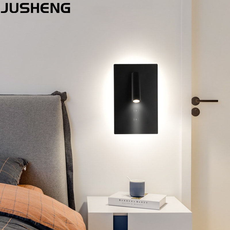 JUSHENG Round LED Bedside Wall Lamp with Rotated Spot Light and Self-switch Art Wall Light in BedroomJUSHENG Round LED Bedside Wall Lamp with Rotated Spot Light and Self-switch Art Wall Light in Bedroom