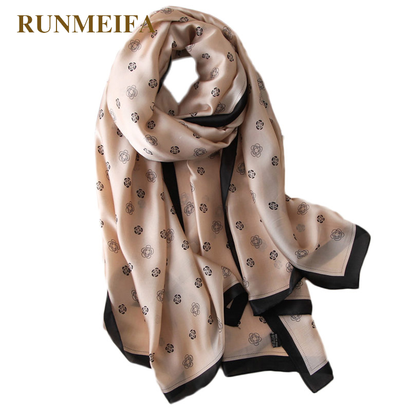 RUNMEIFA New Brand Design Rose Flower Pattern Silk Scarf Women Fashion Shawl 180x90cm Spring/summer/autumn Tourist Clothing Silk