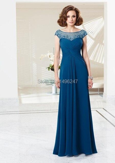 Шифон чай длина мать невесты платья с камнями Scalloepd линии Cap рукавом платья выпускного вечера канун нового года платья