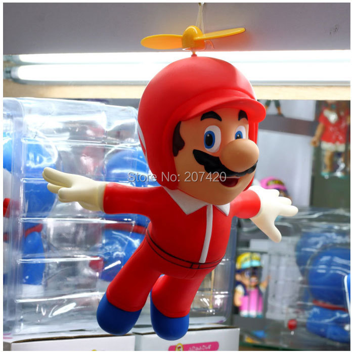 Hot Selling 24cm Fly Helicopter Super Mario PVC Toy Doll Anime Manga Figure,1pcs/pack 1pcs super p3tdl3
