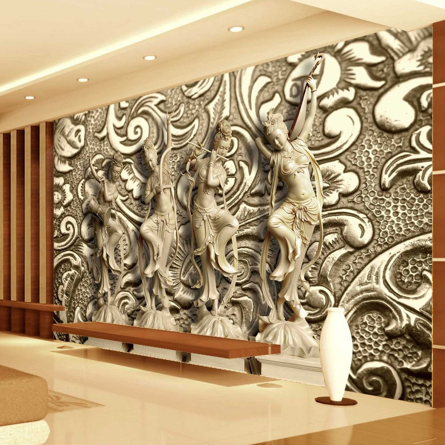 beibehang Custom Photo Wallpaper 3D Stereoscopic Relief Statue TV Background Wall Painting Wallpaper Mural Papel De Parede 3D