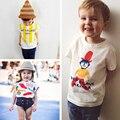 Bobo choses verão bebés meninos camisetas para as crianças personagem de desenho animado amarelo listrado 100 algodão crianças casuais camiseta FC010