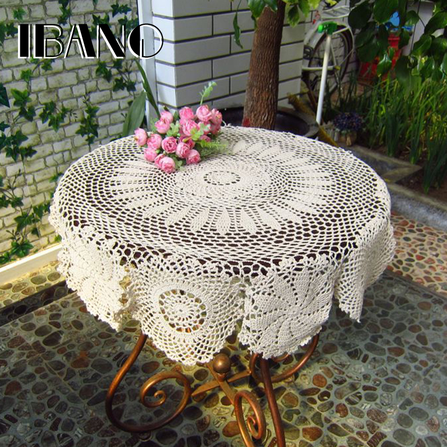 Vintage Crochet Coasters Cotton Lace Cup Mat Placemat Handmade 70/80/90/100/110CM Round Shabby Chic DIY Crocheted Table Cloth